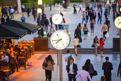 LONDON, UK Canary Wharf business square with clocks Stock Photography