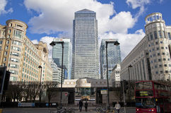 LONDON, UK - CANARY WHARF, MARCH 22, 2014. Carbot square, West India avenue, biggest business district in London, View on Canada tower Royalty Free Stock Photo
