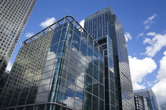 LONDON, UK - CANARY WHARF, MARCH 22, 2014. Modern glass buildings of the biggest business district in London Stock Photo