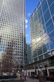 LONDON, UK - CANARY WHARF, MARCH 22, 2014. Modern glass buildings of the biggest business district in London Stock Image