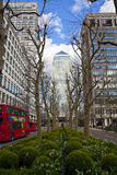 LONDON, UK - CANARY WHARF, MARCH 22, 2014 West India avenue Stock Photo