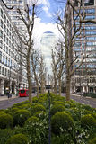 LONDON, UK - CANARY WHARF, MARCH 22, 2014 West India avenue. LONDON, UK - CANARY WHARF, MARCH 22, 2014  Carbot square, West India avenue, biggest business Royalty Free Stock Image