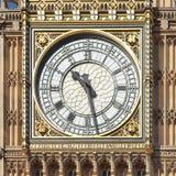 Big Ben in London. LONDON, UK - CIRCA 2017: Big Ben clock dial at the Houses of Parliament in Westminster. Latin text Domine Salvam Fac Reginam Nostram Victoriam stock photos