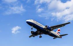 LONDON, UK: CIRCA 2015: British Airways Airbus A320. British Airways Airbus A320 passenger aircraft landing approach Stock Photos