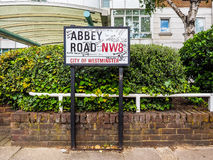 Abbey Road sign in London (hdr). LONDON, UK - CIRCA JUNE 2017: Abbey Road street sign made famous by the 1969 Beatles album cover (high dynamic range royalty free stock images