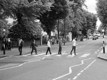 Abbey Road crossing in London black and white Stock Photo
