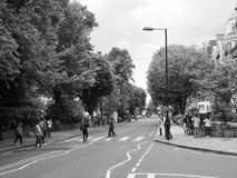 Abbey Road crossing in London black and white Royalty Free Stock Photo