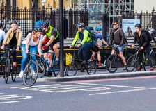 Cyclists in London (hdr) Royalty Free Stock Photo
