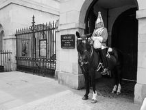Horse Guards parade in London black and white. LONDON, UK - CIRCA JUNE 2017: Guard at Horse Guards parade ground in black and white Royalty Free Stock Photography