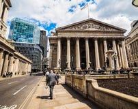 Royal Stock Exchange in London, hdr. LONDON, UK - CIRCA JUNE 2017: The historical Royal Stock Exchange building, high dynamic range stock images