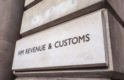 HMRC in London (hdr). LONDON, UK - CIRCA JUNE 2017: HMRC Her Majesty Revenue and Customs sign (high dynamic range Royalty Free Stock Photos