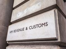 HMRC in London,. LONDON, UK - CIRCA JUNE 2017: HMRC Her Majesty Revenue and Customs sign, high dynamic range Royalty Free Stock Photos