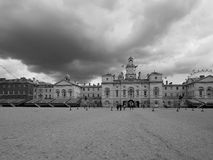 Horse Guards parade in London black and white. LONDON, UK - CIRCA JUNE 2017: Horse Guards parade ground in black and white Stock Image
