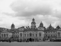 Horse Guards parade in London black and white. LONDON, UK - CIRCA JUNE 2017: Horse Guards parade ground in black and white Stock Images