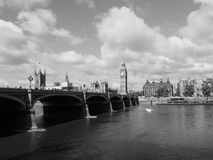 Houses of Parliament in London black and white. LONDON, UK - CIRCA JUNE 2017: Houses of Parliament aka Westminster Palace in black and white Stock Image