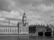Houses of Parliament in London black and white. LONDON, UK - CIRCA JUNE 2017: Houses of Parliament aka Westminster Palace in black and white Royalty Free Stock Photos