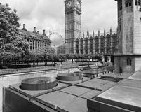 Houses of Parliament in London black and white Stock Image
