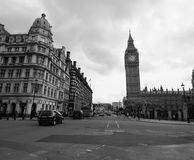 Houses of Parliament in London black and white Royalty Free Stock Photos