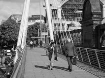 Jubilee Bridge in London black and white Royalty Free Stock Photo
