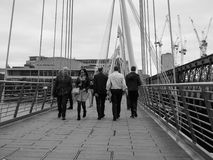 Jubilee Bridge in London black and white Royalty Free Stock Photo