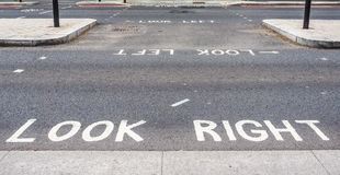 Look right, look left sign in London (hdr). LONDON, UK - CIRCA JUNE 2017: look right and look left road signs (high dynamic range Stock Image