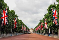 Mall in London (hdr). LONDON, UK - CIRCA JUNE 2017: The Mall links Trafalgar Square to Buckingham Palace (high dynamic range Royalty Free Stock Images