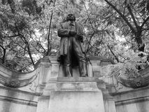 Brunel statue in London black and white Stock Photo