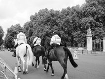 Police on horseback in London black and white Stock Images