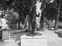 Mandela statue in London black and white