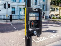 Pedestrian wait sign in London, hdr Royalty Free Stock Photo