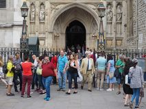 Westminster Abbey Evensong choral service in London. LONDON, UK - CIRCA JUNE 2018: People leaving the Evensong choral service at Westminster Abbey anglican stock photography