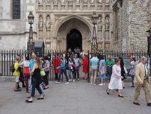 Westminster Abbey Evensong choral service in London. LONDON, UK - CIRCA JUNE 2018: People leaving the Evensong choral service at Westminster Abbey anglican stock photo