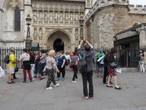 Westminster Abbey Evensong choral service in London. LONDON, UK - CIRCA JUNE 2018: People leaving the Evensong choral service at Westminster Abbey anglican royalty free stock photography