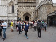 Westminster Abbey Evensong choral service in London. LONDON, UK - CIRCA JUNE 2018: People leaving the Evensong choral service at Westminster Abbey anglican royalty free stock images