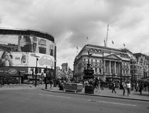 People in Piccadilly Circus in London black and white Royalty Free Stock Images