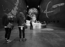 Natural History Museum in London black and white. LONDON, UK - CIRCA JUNE 2017: People visiting the Natural History Museum on Exhibition Road in South Kensington royalty free stock image