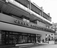 Queen Elizabeth II Centre in London black and white stock photography