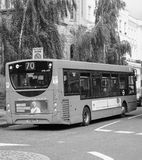 Red bus in London black and white Royalty Free Stock Photo