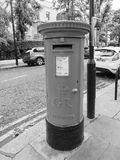 Red mailbox in London black and white Royalty Free Stock Images