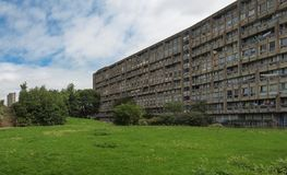 Robin Hood Gardens in London. LONDON, UK - CIRCA JUNE 2011: Robin Hood Gardens housing estate designed by Alison and Peter Smithson in late sixties, a Royalty Free Stock Images