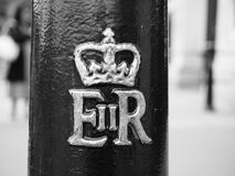 Royal cypher of the Queen in London black and white Stock Image