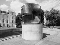 Moore sculpture titled Locking Piece in London black and white Royalty Free Stock Photography