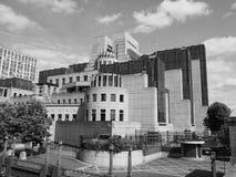 British Secret Service in London black and white. LONDON, UK - CIRCA JUNE 2017: SIS MI6 headquarters of British Secret Intelligence Service at Vauxhall Cross Royalty Free Stock Photos