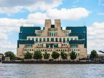 British Secret Service in London, hdr. LONDON, UK - CIRCA JUNE 2017: SIS MI6 headquarters of British Secret Intelligence Service at Vauxhall Cross London, high Stock Images