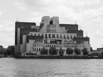 British Secret Service in London black and white. LONDON, UK - CIRCA JUNE 2017: SIS MI6 headquarters of British Secret Intelligence Service at Vauxhall Cross Stock Photos
