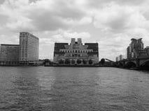British Secret Service in London black and white. LONDON, UK - CIRCA JUNE 2017: SIS MI6 headquarters of British Secret Intelligence Service at Vauxhall Cross Stock Photography