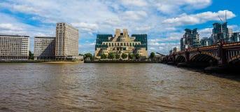 British Secret Service in London (hdr). LONDON, UK - CIRCA JUNE 2017: SIS MI6 headquarters of British Secret Intelligence Service at Vauxhall Cross London (high Stock Photography