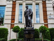 Faraday monument in Savoy Place in London (hdr). LONDON, UK - CIRCA JUNE 2017: Statue of Michael Faraday in Savoy Place (high dynamic range Stock Photos