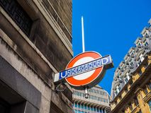 Tube station in London, hdr. LONDON, UK - CIRCA JUNE 2017: Tube station roundel sign, high dynamic range Royalty Free Stock Photo