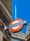 Tube station in London (hdr). LONDON, UK - CIRCA JUNE 2017: Tube station roundel sign (high dynamic range Royalty Free Stock Photos
